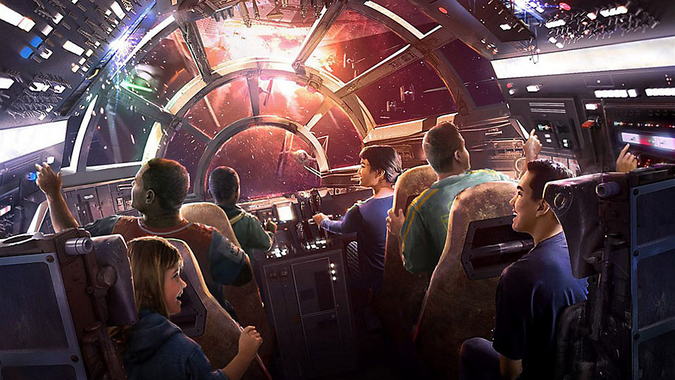 Concept art for the upcoming Millennium Falcon ride set for Star Wars: Galaxy's Edge at Disneyland and Disney World. (Disney/Lucasfilm)