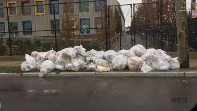 Garbage is piling up outside NYC's first green public school