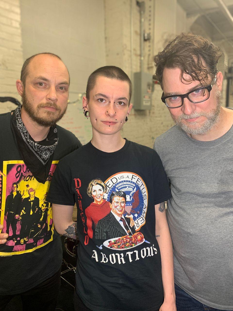 John Panza with the comrades of the group Hiram-Maxim, Fred Gunn and Balmer