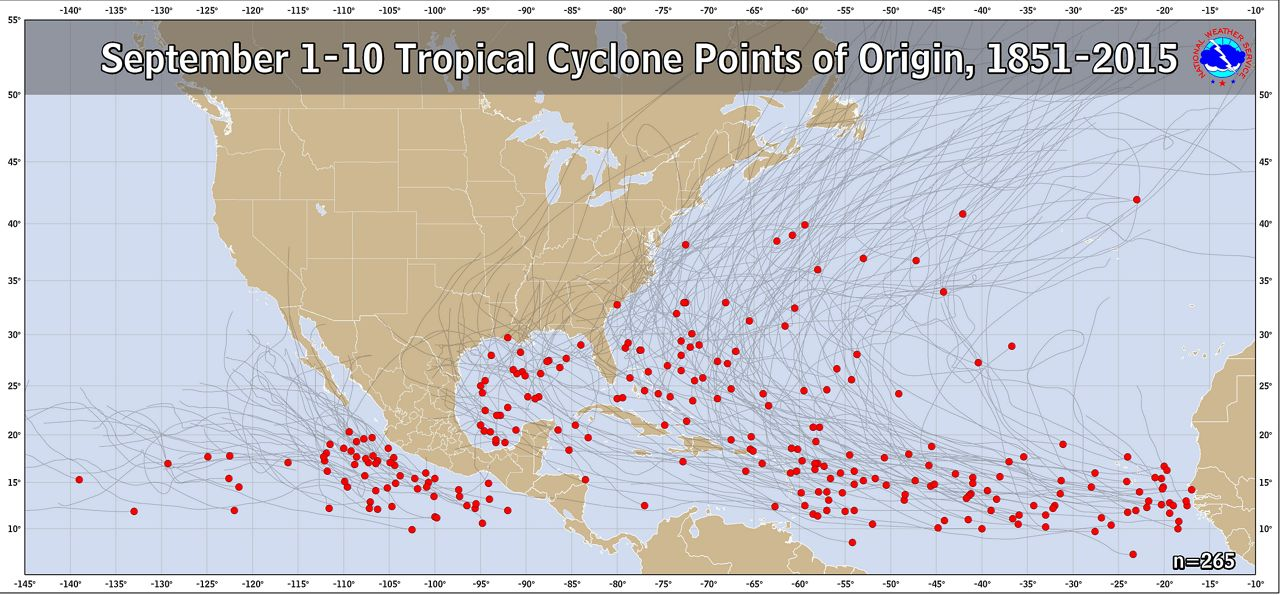 Tropical Formation Locations and Tracks