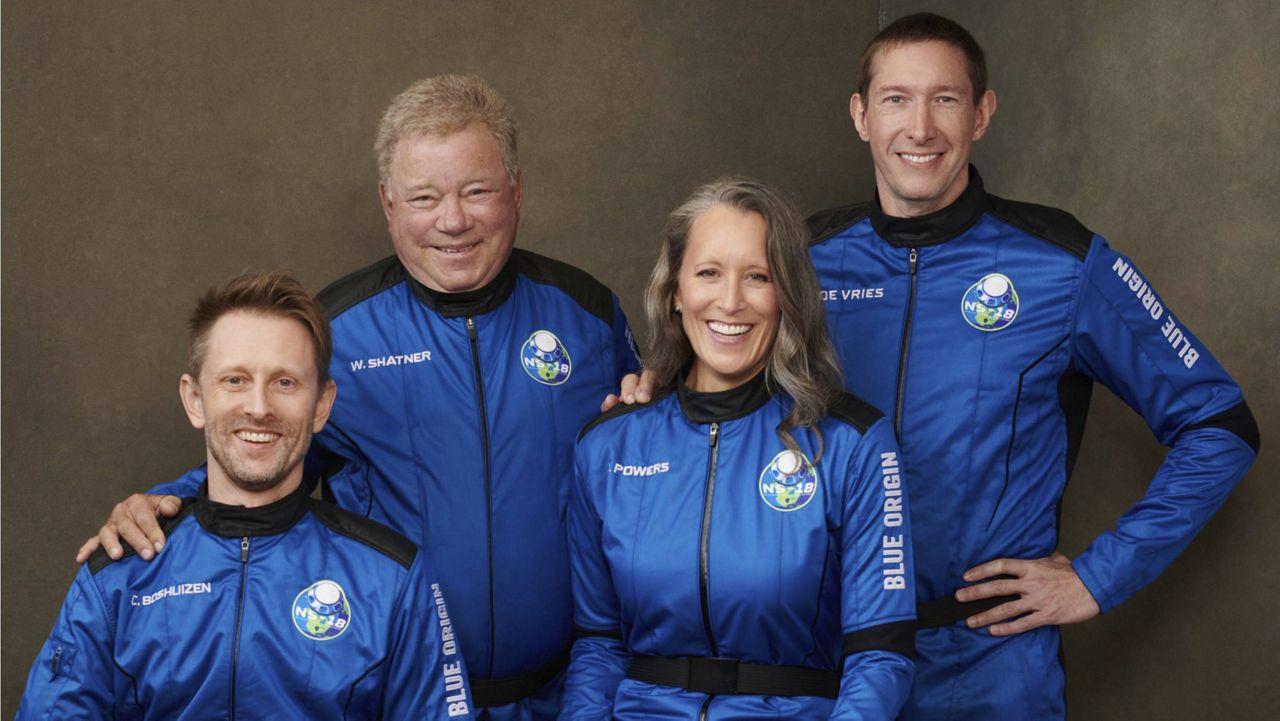 Wednesday's Blue Origin crew, from left: Chris Boshuizen, William Shatner, Audrey Powers and Glen de Vries (Blue Origin via AP)