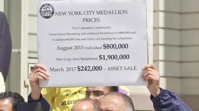 Taxi Medallion Owners Tee Off on Mayor at City Hall Rally