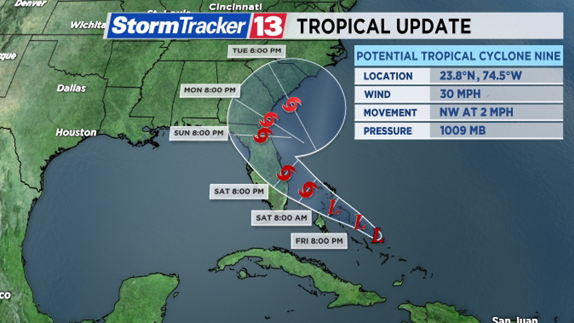 TROPICS: Tropical Storm Watch Issued for Florida Coast