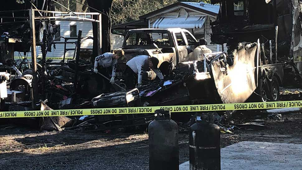 Two Pinellas Mobile Homes in Flames