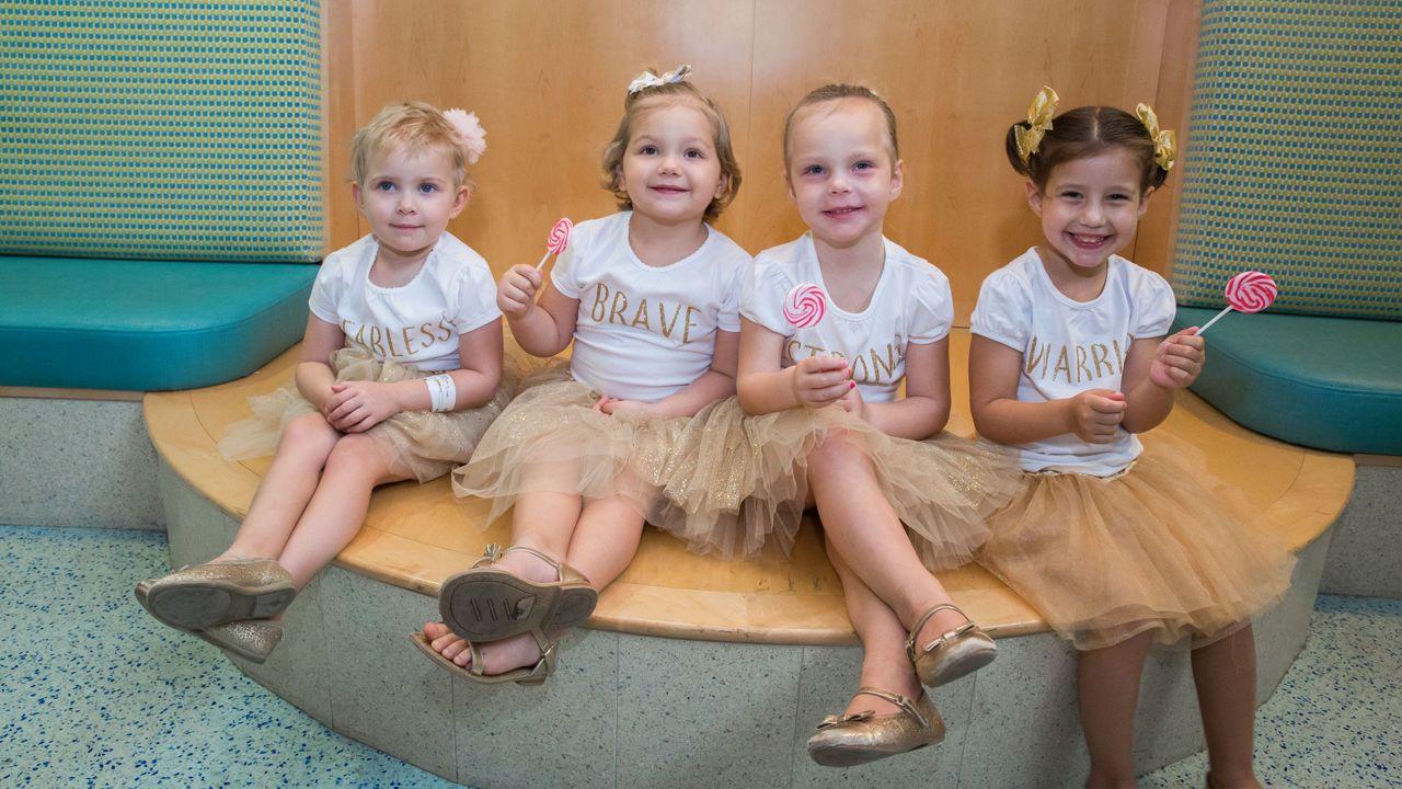 Having met last year at Johns Hopkins All Children's Hospital, Chloe, McKinnley, Lauren, and Avalynne share a bond. Cancer Awareness month.