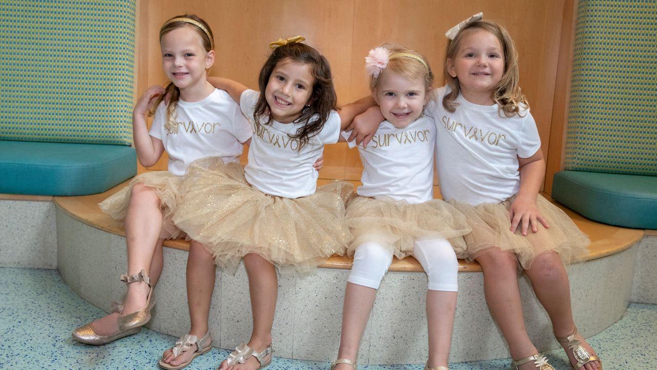 2018 tutu photo reunion at Johns Hopkins All Children's Hospital. Lauren, McKinley, Ava and Chloe.