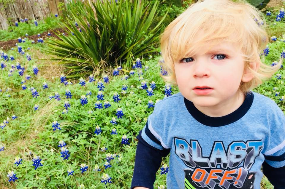 Boy sits in wildflowers.