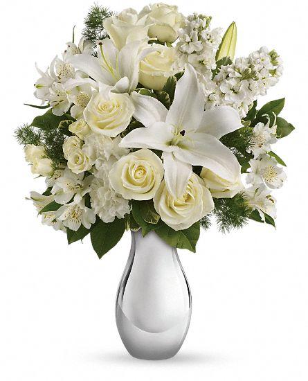 White Rose Flower Bouquet: Teleflora's Shimmering White Bouquet Flowers, Teleflora's