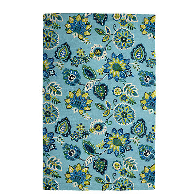 Jacobean Blue Floral Wool Rug The Company Store