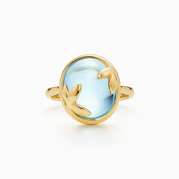 6fdde4bc1 ... tiffany co; new paloma picasso® olive leaf ring in 18k gold with a blue  topaz. ...