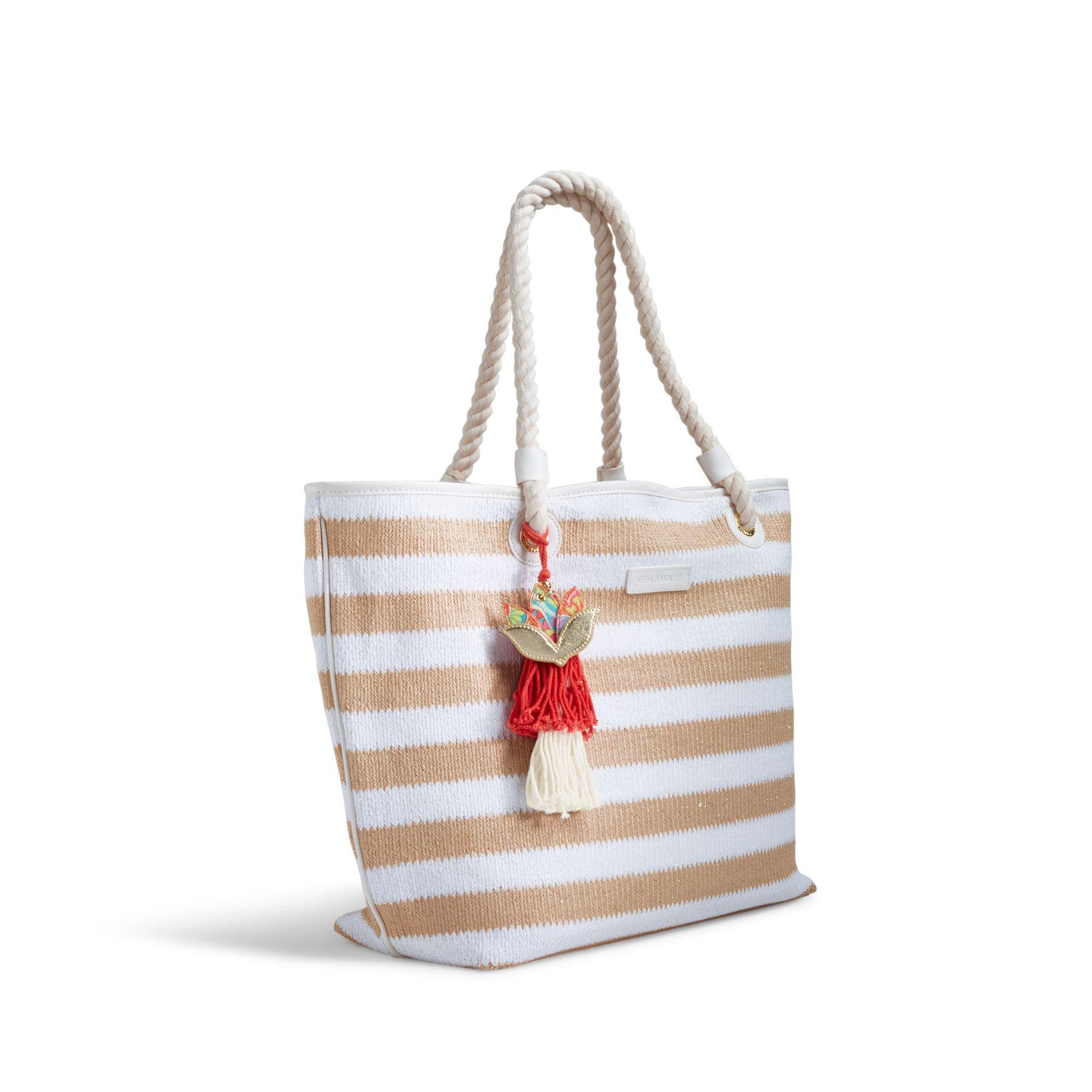 Ebay Vera Bradley Beach Towel: Vera Bradley Striped Beach Tote Bag In Natural Stripe