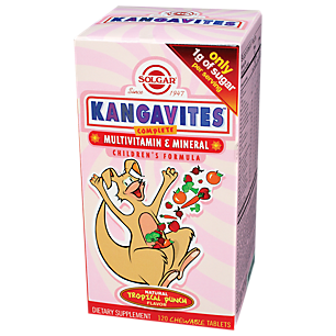 Solgar Kangavites Multivitamin & Mineral Tropical Punch 120 Chewable Tablets.