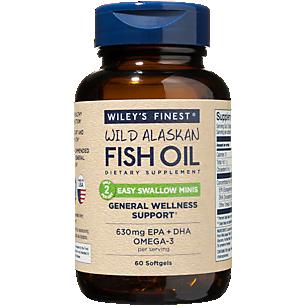 Wild Alaskan Fish Oil Easy Swallow Minis - 630 MG EPA, DHA, Omega 3 (60 Softgels)