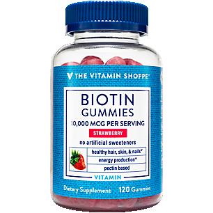 Biotin Gummies Supports Hair, Skin & Nails 10,000 MCG per Serving Strawberry (120 Gummies)