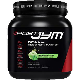 Post Jym BCAAs + Recovery Matrix Green Apple Gummy (23.3 oz. / 30 Servings)