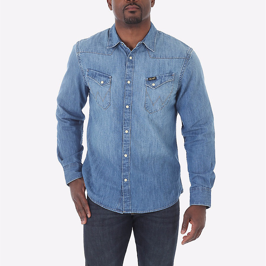 Men's Born Ready Western Snap Long Sleeve Denim Shirt