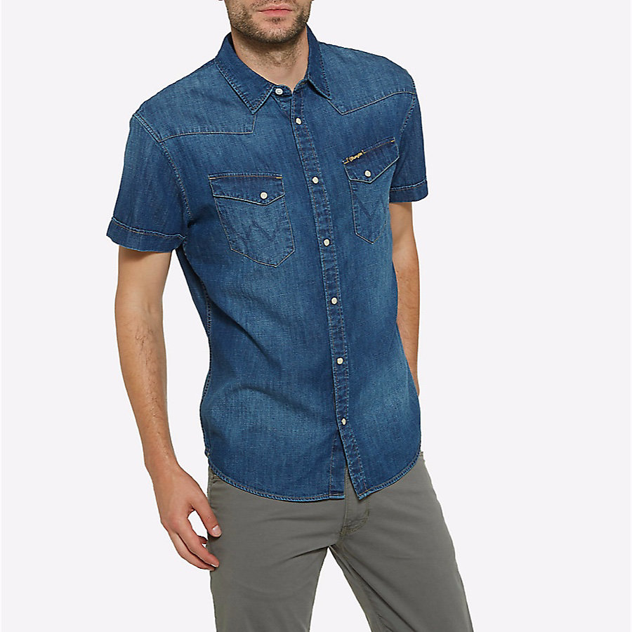 Men's Born Ready Western Snap Short Sleeve Denim Shirt