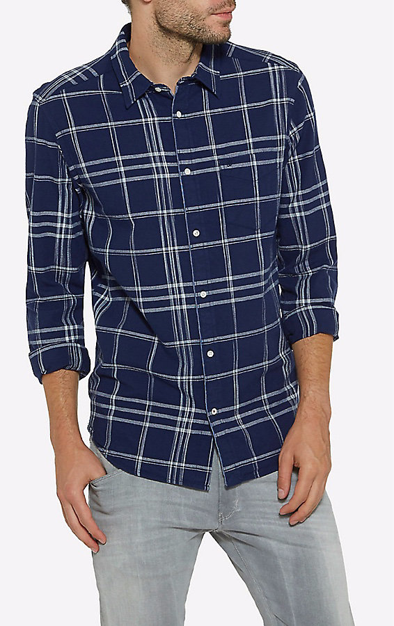 Men's Born Ready Button Down Long Sleeve Plaid Shirt