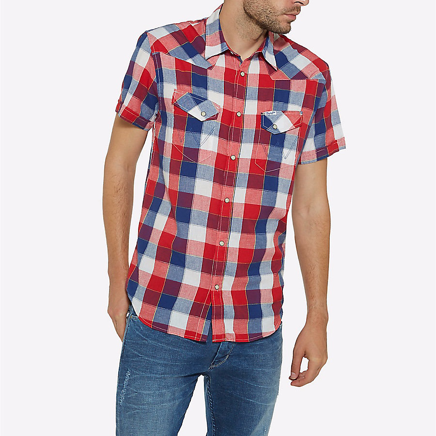 Men's Born Ready Western Snap Short Sleeve Plaid Shirt