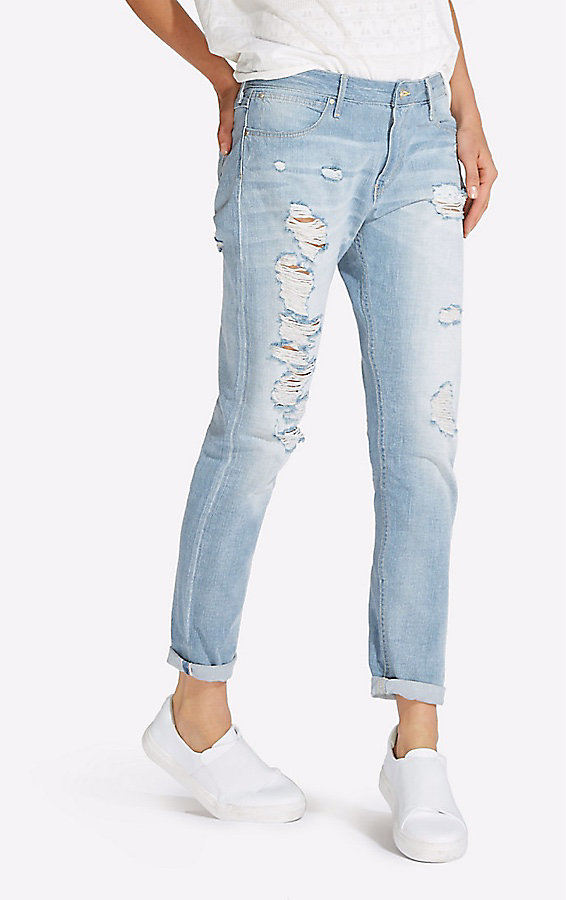 Women's Selvedge Destructed Boyfriend Jean
