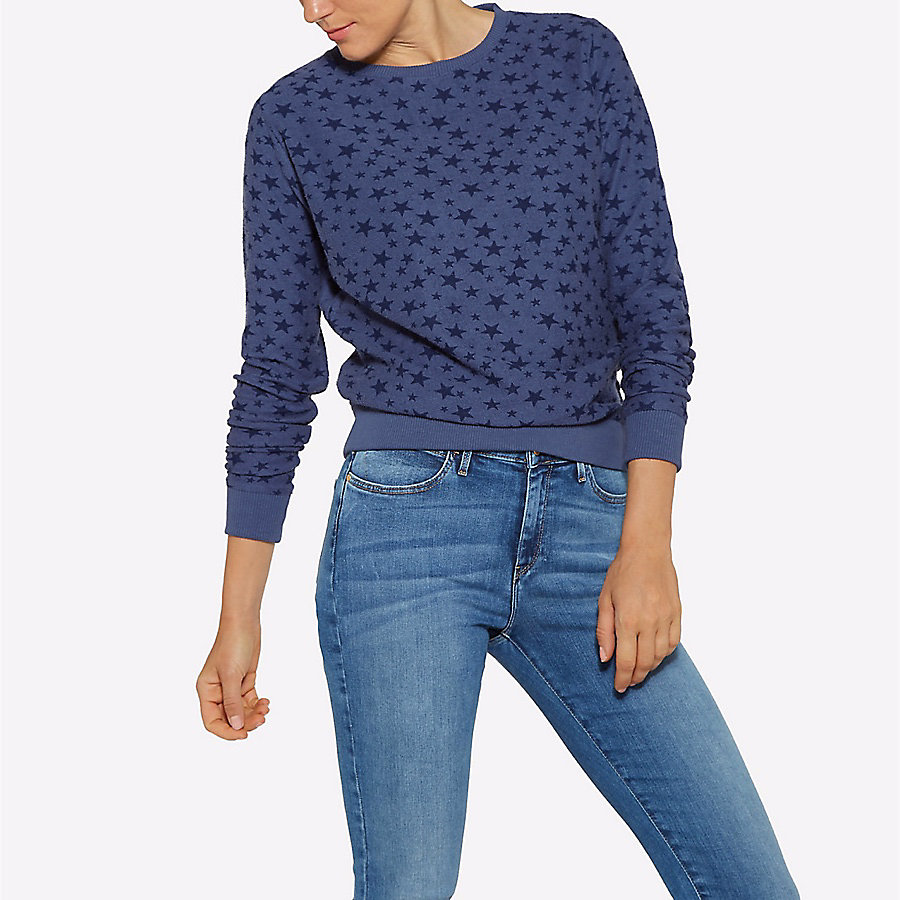 Women's Born Ready Long Sleeve Star Print Sweater