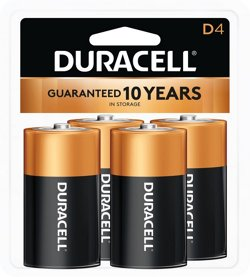 Duracell CopperTop D Alkaline Batteries 4-Pack