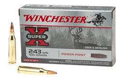 Winchester Super-X Power-Point .243 Winchester 100-Grain Rifle Ammunition