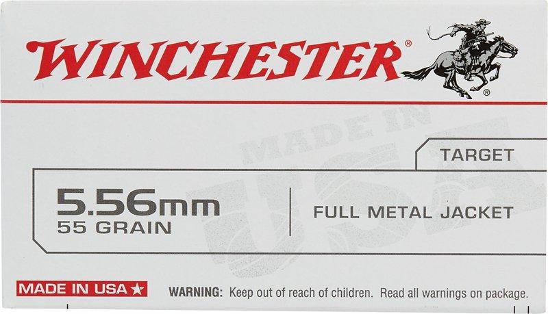Winchester USA Full Metal Jacket 5.56 x 45 mm 55- Rifle Ammunition 000 – Rifle Shells at Academy Sports