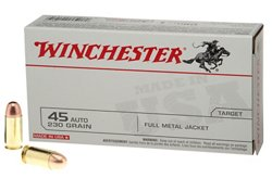 Winchester USA Full Metal Jacket .45 Automatic 230-Grain Handgun Ammunition