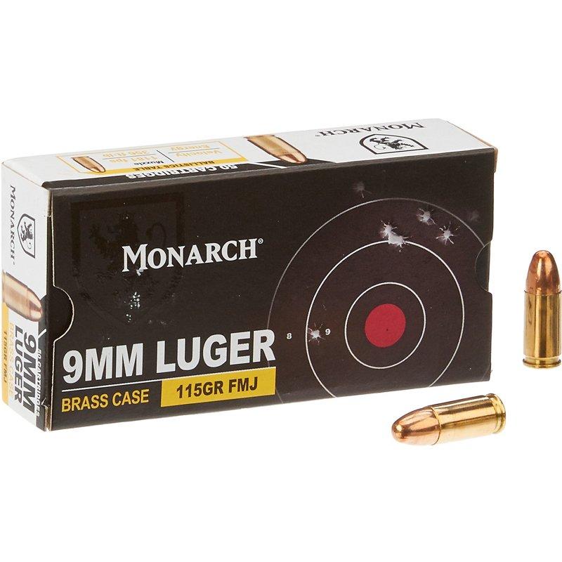 Monarch FMJ 9 mm Luger 115-Grain Pistol Ammunition – Pistol Shells at Academy Sports
