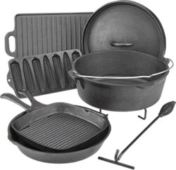 Outdoor Gourmet Cast-Iron Cookware Set in a Box