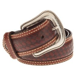 Men's Star Concho Basket Weave Belt
