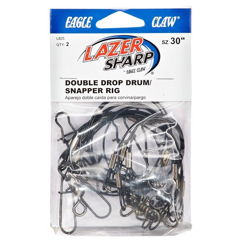 Eagle Claw 30' Double Drop Drum/Snapper Saltwater Leader Rigs 2-Pack