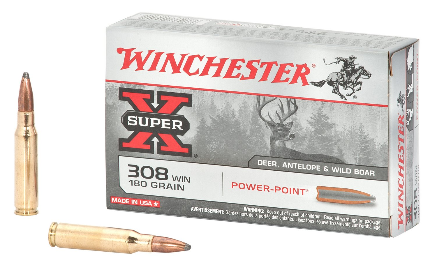 Winchester Super-X 308 Caliber 180-Grain Power-Point Ammunition