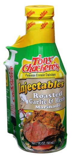 Tony Chachere's 17 oz. Roasted Garlic and Herb Injectable Marinade with Injector