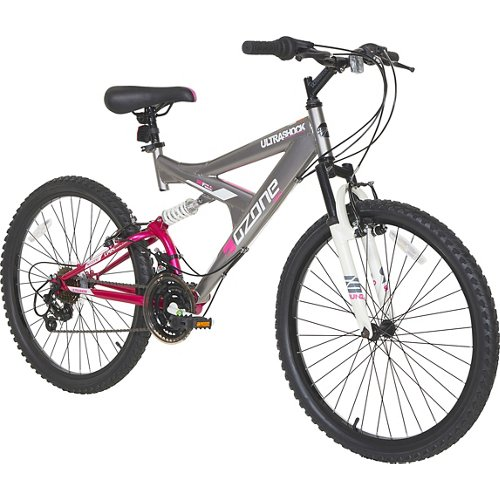 Ozone 500® Girls' Ultra Shock 24' 21-Speed Dual-Suspension Bicycle
