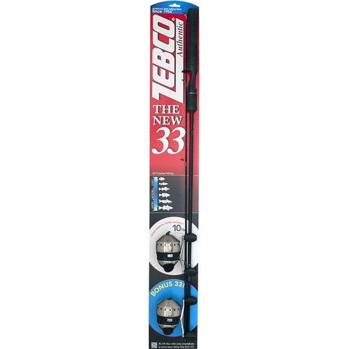 Zebco Authentic 33 5'6' M Freshwater Spincast Rod and Reel Combo with Bonus 33