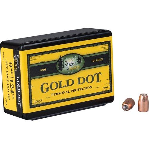 Speer Gold Dot .38 Auto/.380/9mm Luger 124-Grain Hollow-Point Bullets