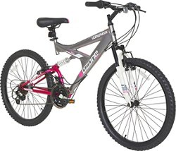 "Ozone 500® Girls' Ultra Shock 24"" 21-Speed Dual-Suspension Bicycle"