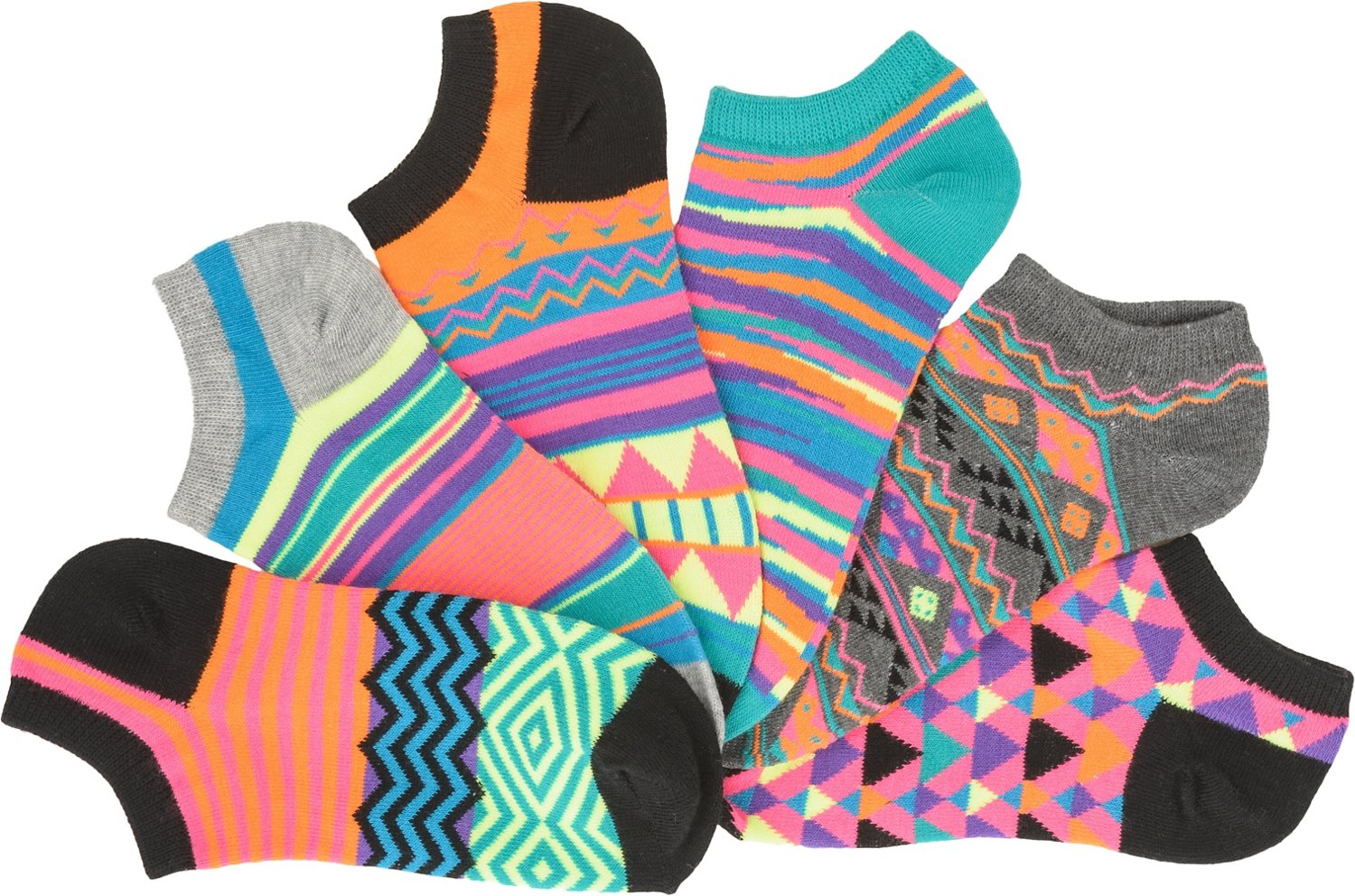 BCG Women's Aztec Assorted Pattern Ankle Socks 6 Pack - view number 1