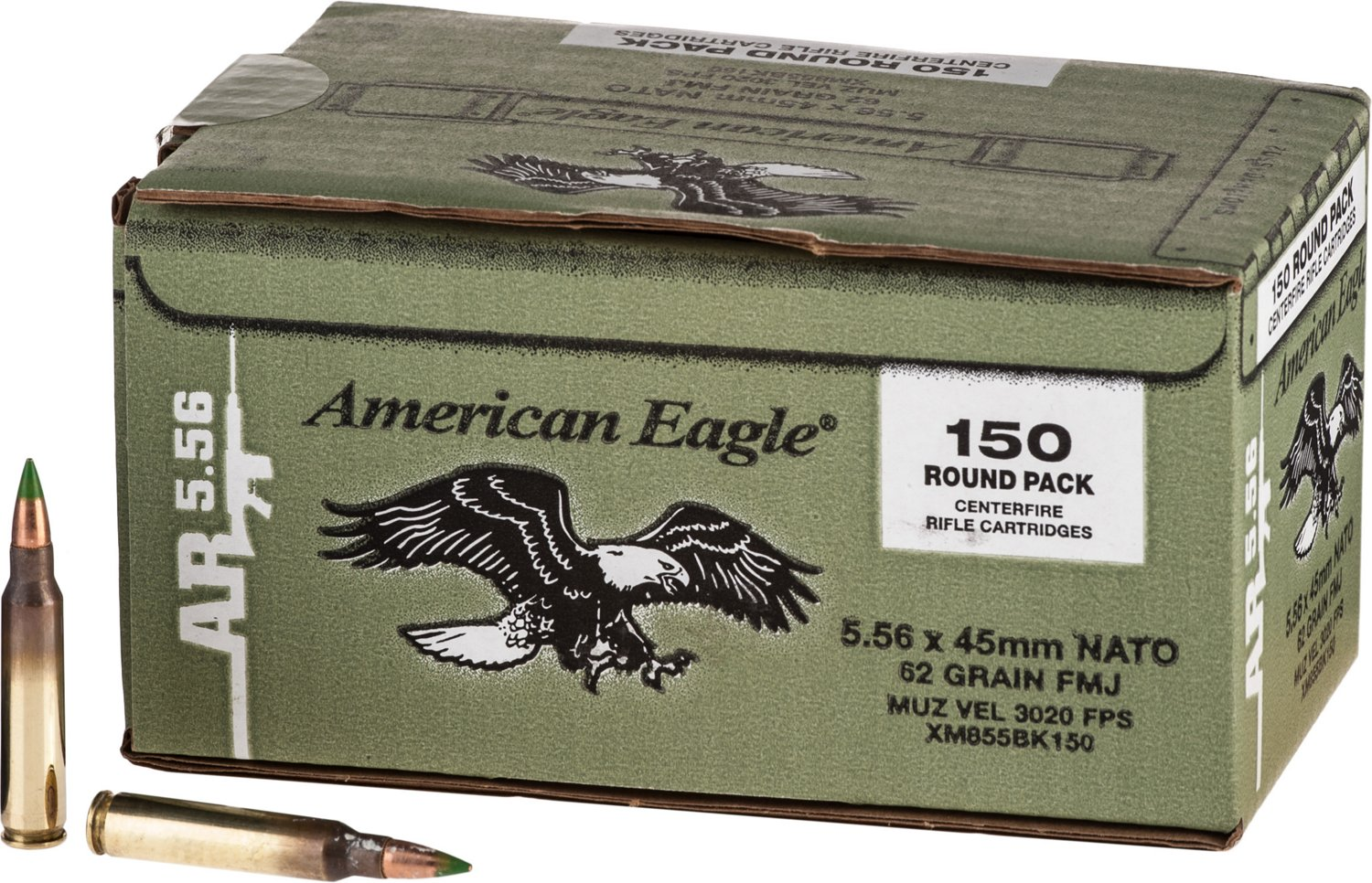Federal Premium American Eagle XM855 5.56 NATO 62-Grain Centerfire Rifle Ammunition