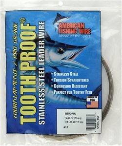American Fishing Wire Tooth Proof 124 lbs - 30 ft Single-Strand Leader Wire