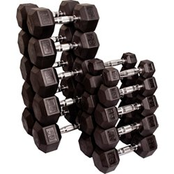 5 - 50 lb. Rubber Coated Hex Dumbbell Set