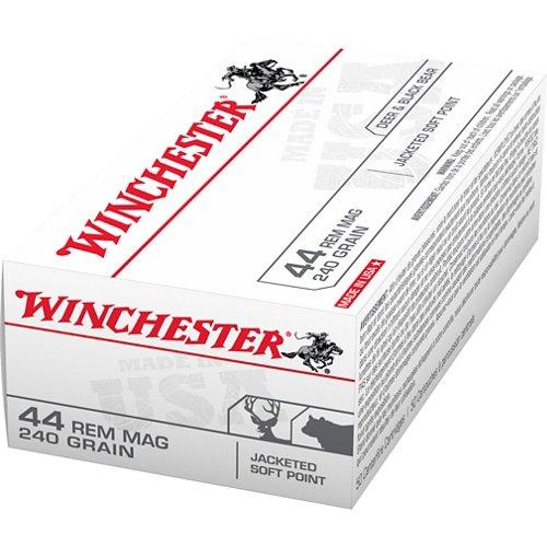 Winchester USA Jacketed Soft Point .44 Remington Magnum 240-Grain Handgun Ammunition