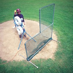 Travel Ball Quick-Snap® L-Shaped 6.5' x 6' Pitching Screen