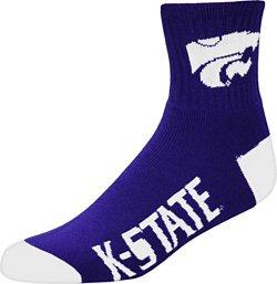 For Bare Feet Men's Kansas State University Team Color Quarter Socks