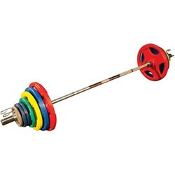 300 lb. Colored Rubber Grip Olympic Plate Set