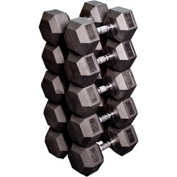55 - 75 lb. Rubber Coated Hex Dumbbell Set