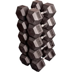 80 - 100 lb. Rubber Coated Hex Dumbbell Set