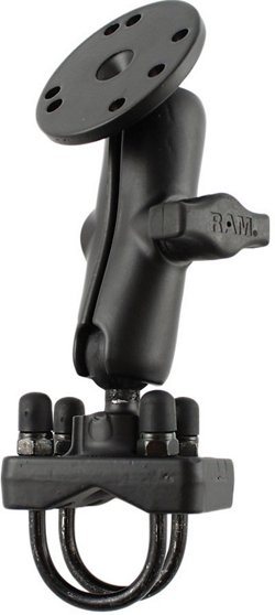 """RAM 1"""" Diameter Ball Rail Mount with Double U-Bolt Base and 2.5"""" Round Base"""